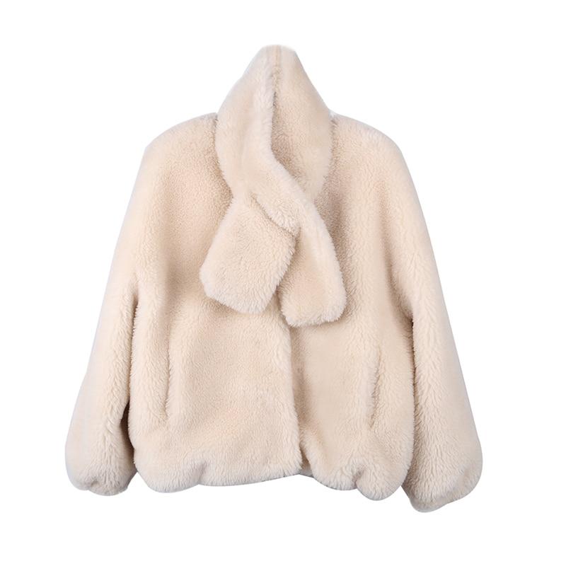Vêtements Manteau Fourrure Femmes De Zt1655 Laine 2018 Automne Veste Coréen Chenwufen Vintage Mouton Hiver beige 100 Femme naichase U7p5wq0q