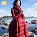 2015 new Hot winter Thicken Warm Woman Down jacket Coat Parkas Outerwear Luxury A word long plus size High Original High Waist