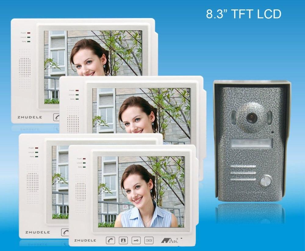 ZHUDELE Home Security Intercom System Doorbell Kits Luxury 8.3 video door phone ,CCD camera ,nightvision top quality Doorphone