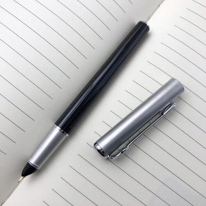 цена на 0.38mm Extra Fine Finance Fountain Pen Duke Metal Black-silver Hooded Nib Inking Pens Writing Stationery with an Original Box