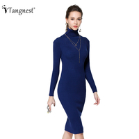 New Fashion 2015 Women Autumn Winter Sweater Dresses Slim Turtleneck Sexy Bodycon Robe Long Knitted Dress