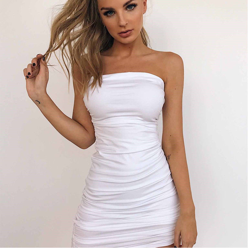 Strapless SExy Women Summer Dress Sleeveless Bodycon Bandage Package Hip Dress Solid Color Mature Women Evening Party Mini Dress