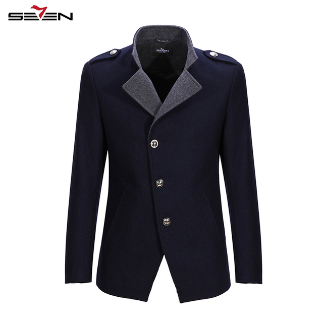 bd7768f18c1 Seven7 Brand Fashion Men Coats Wool Overcoat Blends Warm Winter Big Size  Coats Buttons Front Crashmere