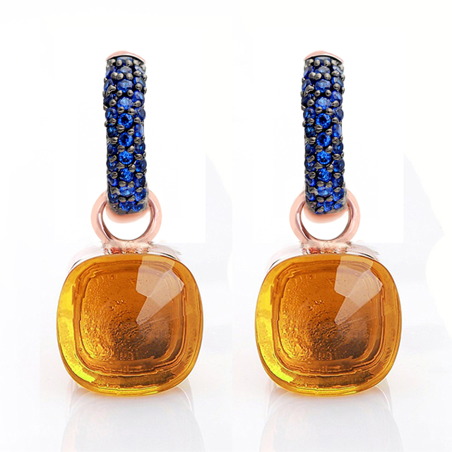 Women Fashion Rose Gold With Black Plated Blue Zircon Earrings Gift 14 Colors
