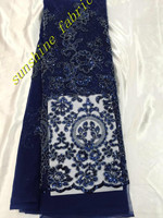 Navy Blue Embroidered Nigerian Lace Fabric High Quality Beaded African Tulle Sequin Lace Fabric For Wedding