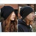 Los hombres de moda y las mujeres de color puro gorro de punto Gorros Otoño invierno al aire libre sombrero caliente gorras de Quimioterapia