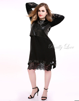 Cute Ann Women's Plus Size Lace Cocktail Party Dress Two Piece Suit Chiffon Long Sleeve Spring Pu Faux Leather Midi Dress