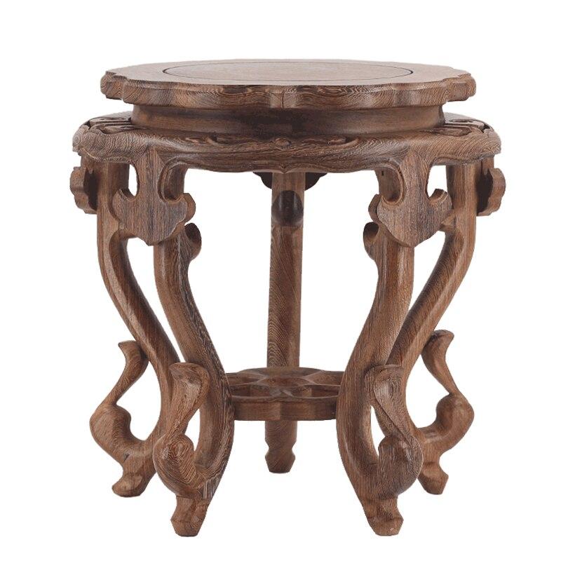 Круглая полка из красного дерева для цветочных украшений, деревянная подставка из цельного дерева с необычным камнем бонсай, ваза чаша для