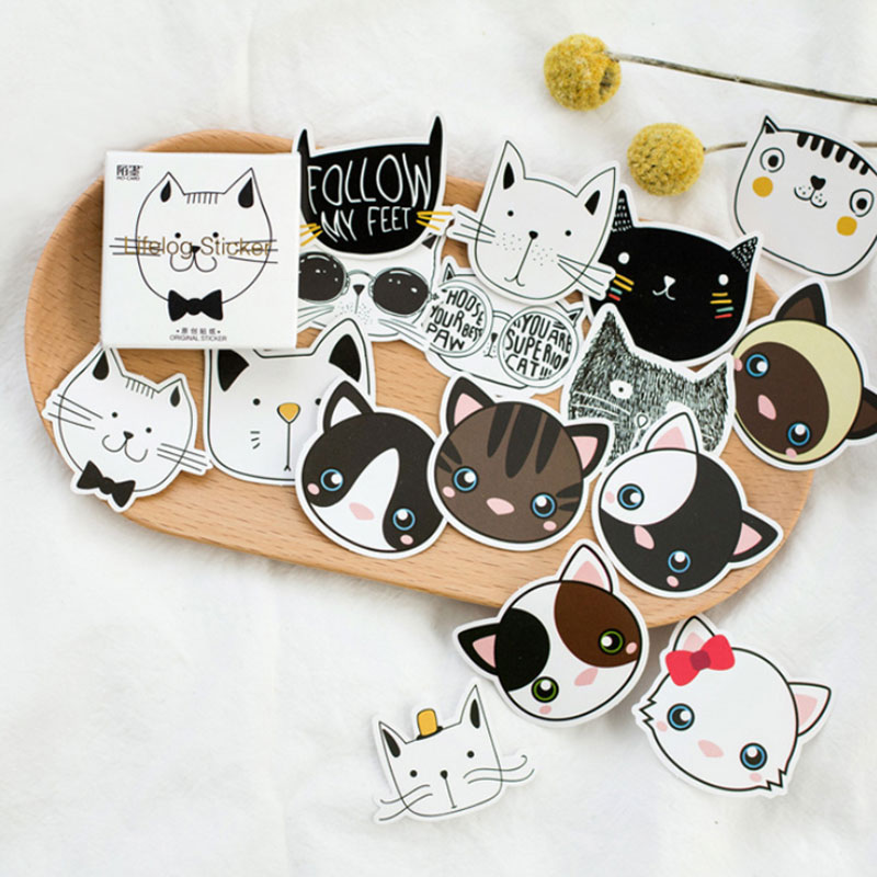 45 pcs/box  pet Head portrait Kawaii stickers DIY album adhesive paper Scrapbook Notebook decoration sticker stationery