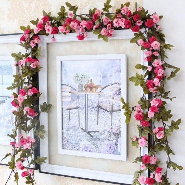 230 cm/91in משי רוז חתונת קישוטי קיסוס גפן פרחים מלאכותיים קשת דקור עם ירוק עלים תליית קיר זר a0332