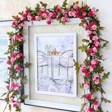 Decoraciones de rosas de seda para boda de 230 cm/91 pulgadas, decoración de arco de flores artificiales de hiedra con hojas verdes, guirnalda colgante de pared A0332