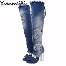 Yuanmeifei Женщины Над Коленом Бедро Высокие Джинсовые Сапоги Открытым Носком Прозрачный Блок Толстый Высокий Каблук Насосы Сандалии Гладиаторов Обувь