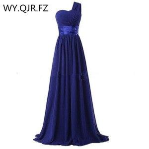 Image 2 - LLY6818BL#Chiffon Dark Blue Red Bridesmaid Dresses One shoulder Long Bride Wedding Party Toast Dress Girls Custom Free Wholesale