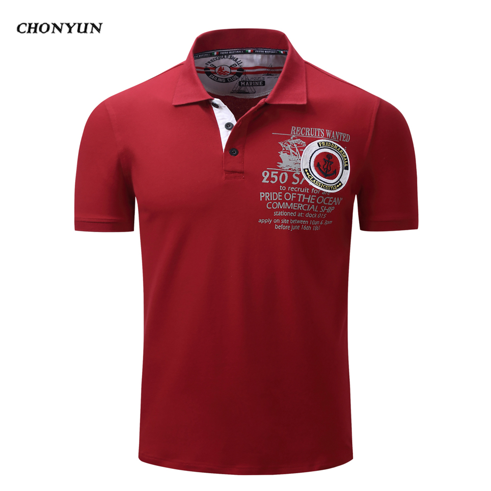 2019 New Summer Men   POLO   Shirt Short sleeves Solid Color Cotton Slim Fit Shirts Summer Male Tops Soccer Tennis Shirts US Size