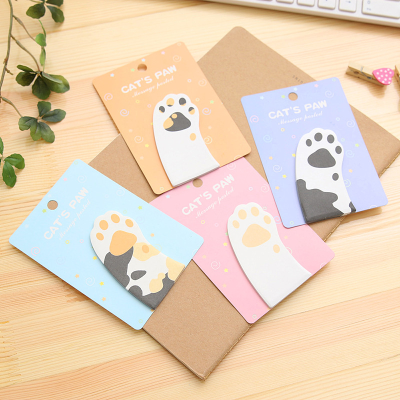 2Pcs/Lot New Cute Meow Cat Paw Mini Memo Pad N Times Sticky Notes School Supply Bookmark Post it Label Gift E0411
