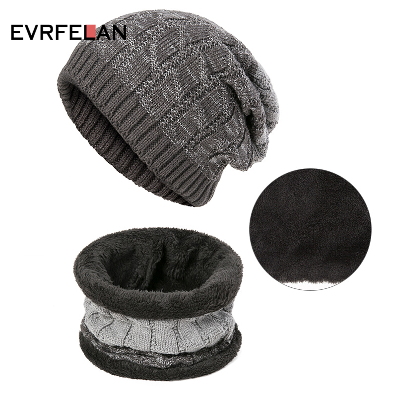 Evrfelan Winter Knitting Hat Scarves For Men Women Warm Thick Beanie Hat Ring Scarf Unisex Plus Velvet Winter Hat&Scarf