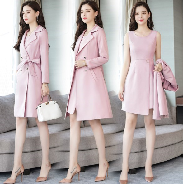 Ladies Knee Length Dress Suits For Women Office Wear Long Trench Coat & Dress 2 Two Piece Set Clothing Women Formal Dresses Suit