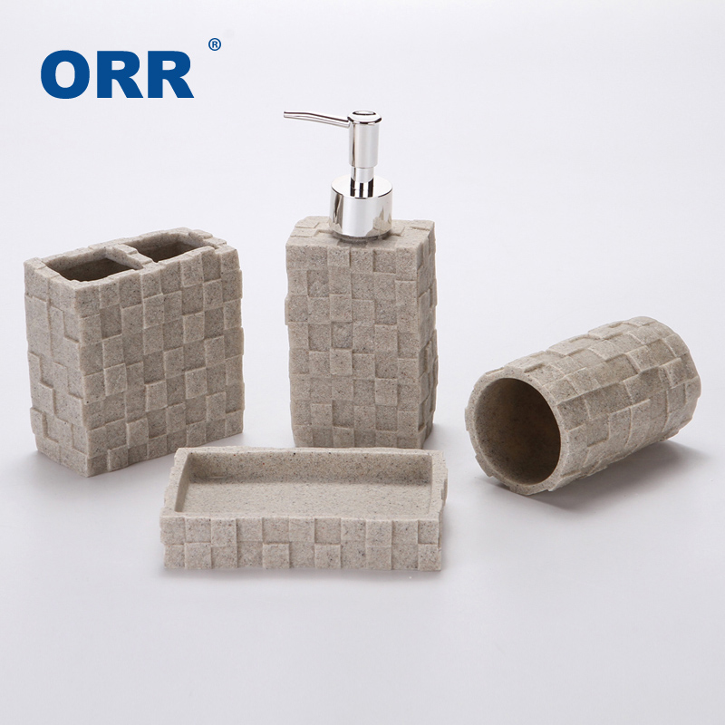 New Bathroom four set sanitary supplies ware Cups toothbrush holder soap dispenser copo Articulos sanitarios ORR image