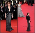 2015 The Cannes Film Festival Sexy Black V-neck Julianne Moore Prom Dress With Half Sleeves Evening Dress Celebrity Dress u3