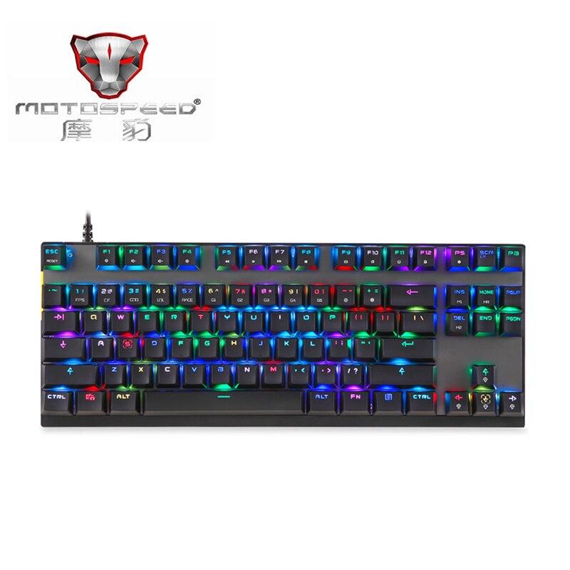 D'origine Motospeed K82 87 Clé USB Clavier Mécanique Avec 14 RGB Rétro-Éclairage Tous-Clé Anti-Fantôme Interrupteur Mécanique clavier de jeu