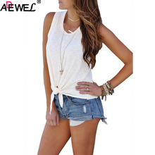 ADEWEL Casual Women Crew Neck Sleeveless Tie Front Tank Top Red White Black T Shirts Summer Top Ladies tops and Blouse Plus Size red floral print crew neck sleeveless gym tops