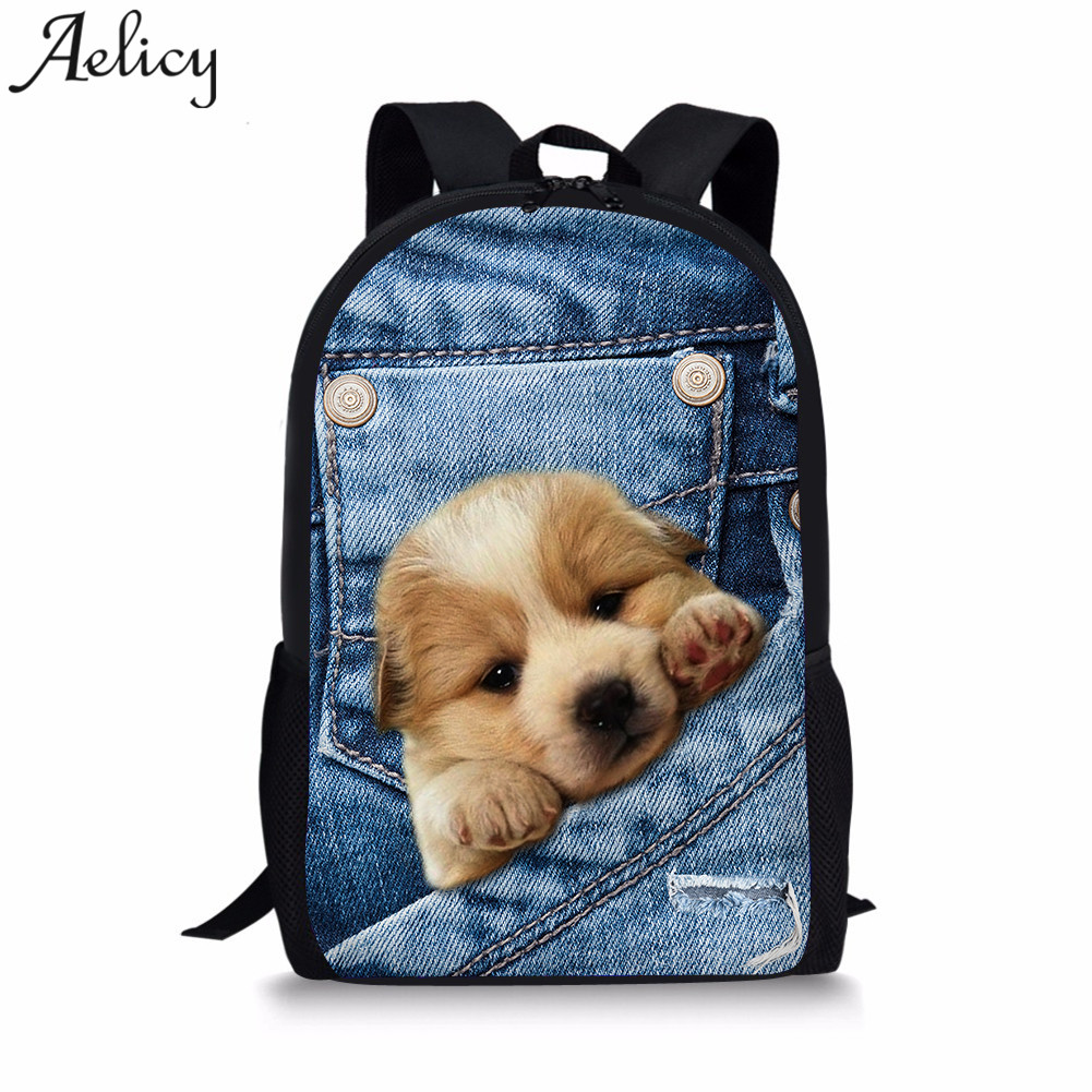 Aelicy Women Backpack 3D Animal Print Cat Dog Backpack Student College Girls School Bags 2019 New Mochila Feminina Drop Ship