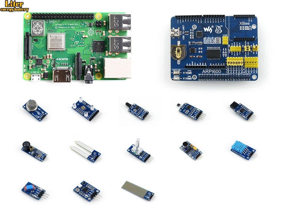 Raspberry Pi 3 Model B+, the Third Generation Pi Development Kit, Expansion Board ARPI600, Various Sensors  - buy with discount