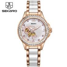 SEKARO Women Ceramic Rhinestone Clock Love Design Watch Womens Wristwatch Top Brand Luxury Women Watches Gift Relogio Feminino