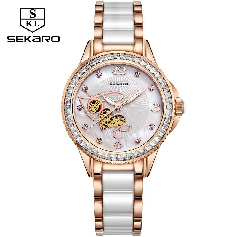 SEKARO femmes en céramique strass horloge amour Design montre femmes montre-bracelet Top marque de luxe femmes montres cadeau Relogio Feminino