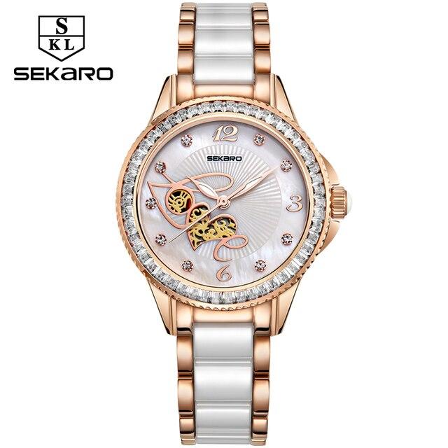 SEKARO נשים קרמיקה ריינסטון שעון אהבת עיצוב נשים של שעוני יד למעלה מותג יוקרה נשים שעונים מתנה Relogio Feminino
