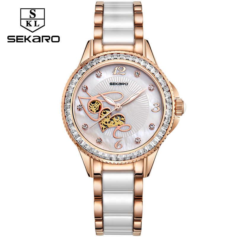 c2490828 Sekaro Для женщин Керамика со стразами часы Любовь Дизайн часы Для женщин наручные  часы лучший бренд