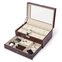 12 Slots Watch Box Mens Watch Organizer Pu Leather Case With Jewelry Drawer For Storage And Display(Brown) цена и фото