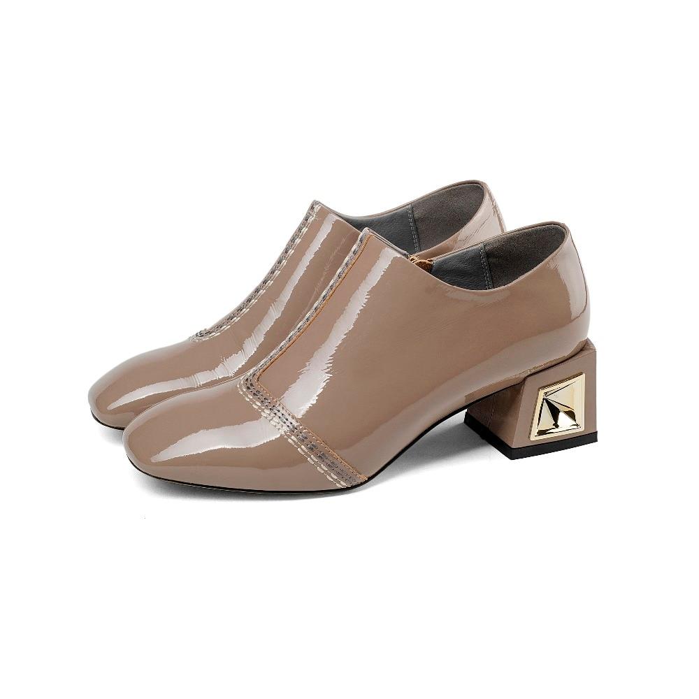 Fermeture Brevet Couleurs Haute En Top Solide Mode Femmes Morazora khaki Carré Talons Éclair Noir Femme Cuir Chaussures Vache De Pompes 2018 Qualité ZFwx0Tz