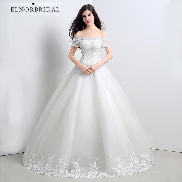 6371950e2 Vintage Lace Ball Gown Wedding Dresses Plus Size 2019 Off The Shoulder Vestidos  De Noiva Corset Back Bridal Gowns Handmade
