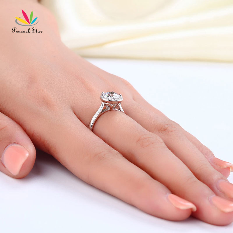 Peacock Star Solid 925 Sterling Silver Engagement Promise Ring Halo For Her Wedding Jewelry CFR8120