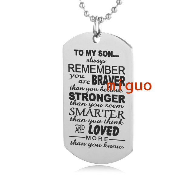 Always remember to my son dog tag from dad mum mens boys necklace always remember to my son dog tag from dad mum mens boys necklace military chain air mozeypictures Image collections