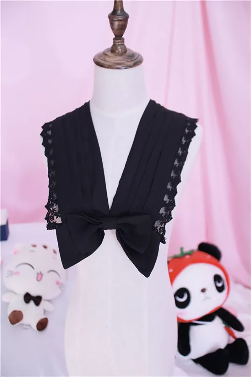 3 Colors Women Fashion Black White Lace Bow Detachable Fake Collars Lolita Clothing Accessory V-Neck Tie For Party