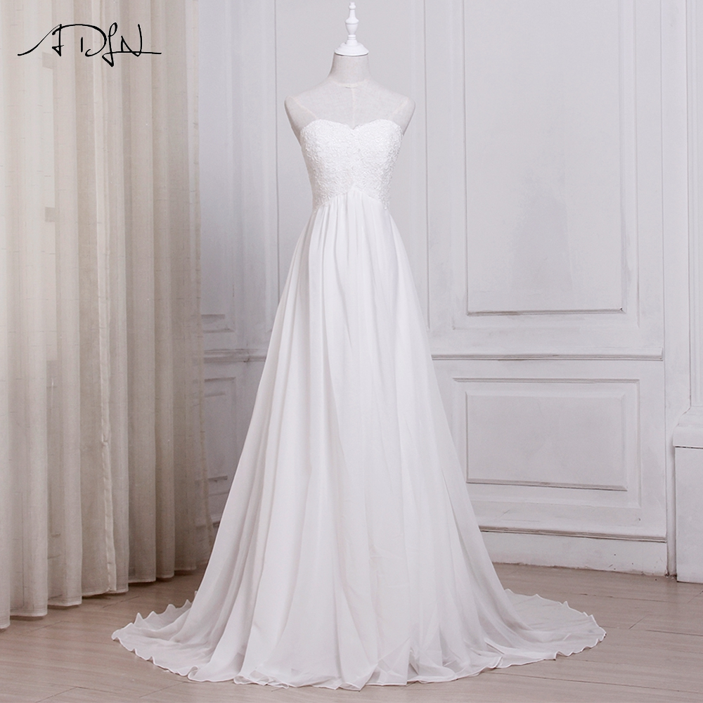 ADLN In Stock White Ivory Chiffon Beach Wedding Dresses Vestido De Noiva Sweetheart A line Bridal