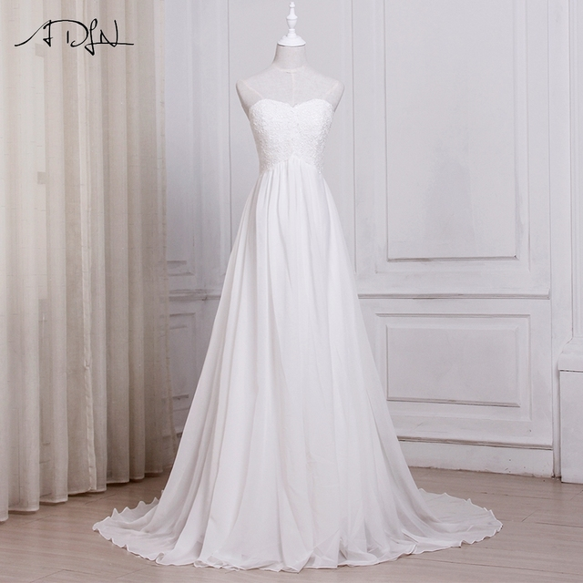 In Stock White / Ivory Chiffon Beach Wedding Dresses Sweetheart A-line Bridal Gowns with Zipper Back