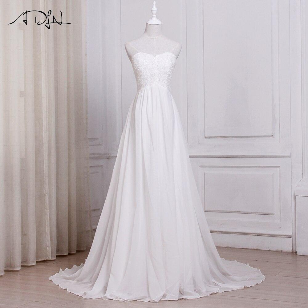 ADLN Trong Kho White/Ngà Voan Bãi Biển Wedding Dresses Vestido De Noiva Sweetheart A-line Bridal Gowns với Zipper Lại