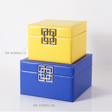 2016 Hot Selling High Quality Modern Blue And Yellow Leather Jewelry Storage  Box Unique Design Storage Box For Home Decor
