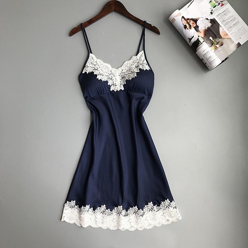 Sexy   Nightgown   Summer Nightdress Lady Sleepwear Casual Rayon Nightwear Lace   Nightgown   Intimate Home Dress   Sleepshirt   M L XL