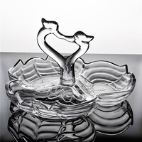 Crystal Glass Swan Couple Divisions Serving Dish Decorative Plate Kitchen Craft Ornament Tableware for Fruit, Candy and Crackers