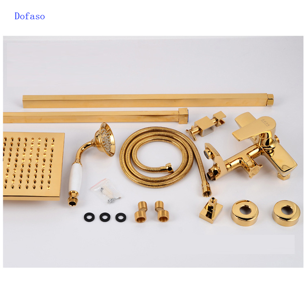 Dofaso Fashion Europe luxury high quality brass bronze finished wall mounted gold shower faucet set with rainfall shower head
