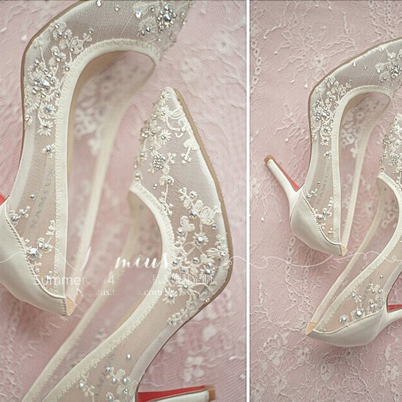 b12cdc9159 US $117.87 8% OFF|2018 Beautiful Sexy Formal Dress Shoes Elegant High Heel  Wedding Shoes Lace Rhinestone Spring Bridal Dress Shoes-in Women's Pumps ...