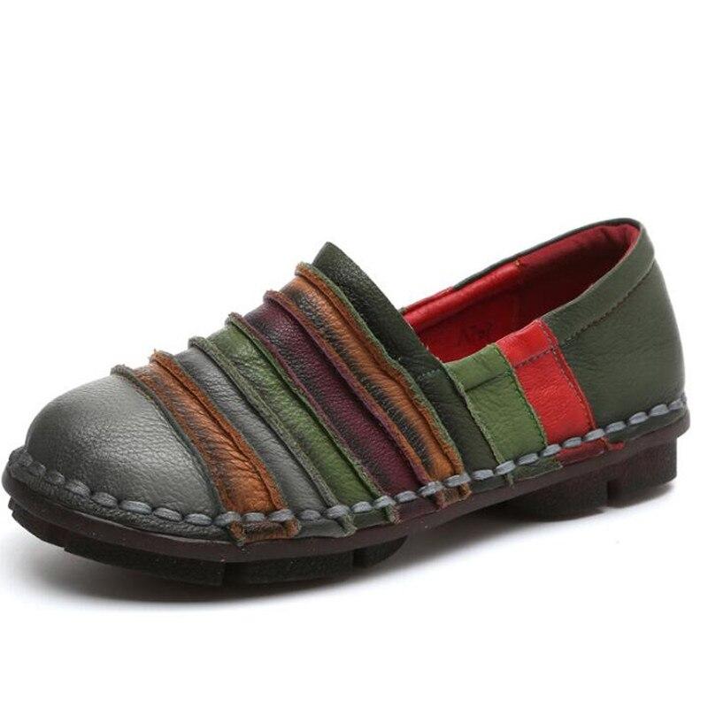 Mode En Rétro Femmes De Chaussures 2018 National Nouveau gris Noir Printemps Cuir La Style Main À Confortable Automne Casual rouge Respirant Simple UTWnBWC