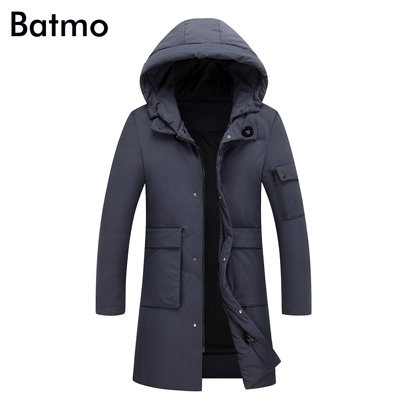 Batmo 2017 new winter keep warm White duck down gray hooded long jacket men, winter mens coat M,L,XL,2XL,3XL, 7811