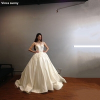 Vinca Sunny Luxury Real Photo Wedding Dress For Bridal Beading Ball Gown Long Sleeveless Lace Wedding