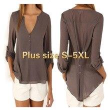 ZOGAA Plus Size S-5XL New Fashion Casual Sexy Deep V Neck Button Slim Waist Long Sleeves Chiffon Blouse Shirt Top