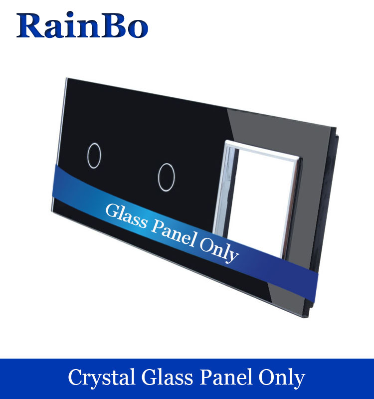 RainBo Brand Manufacturer Crystal Glass Panel 3 Frame Touch Switch and Socket Black Panel for DIY Manufacture 4pc for skoda kodiaq glass lifting control switch panel protect decorative frame